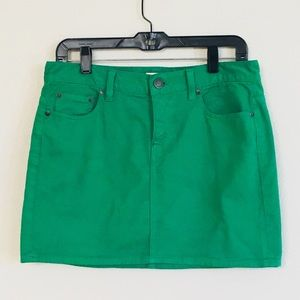 J Crew Kelly Green Denim Mini Skirt Sz 29
